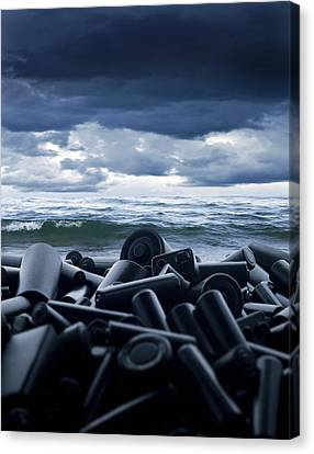 Batteries Polluting The Environment Canvas Print by Richard Kail