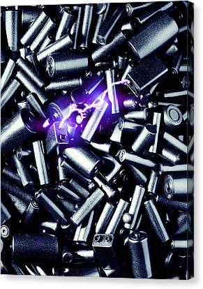 Batteries Sparking Canvas Print by Richard Kail