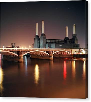 Battersea Power Station At Night Canvas Print by Mark A Paulda