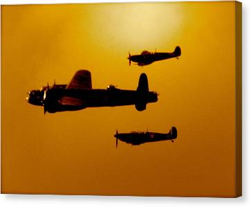 Canvas Print featuring the photograph Battle Of Britain Flight At Dusk by John Colley