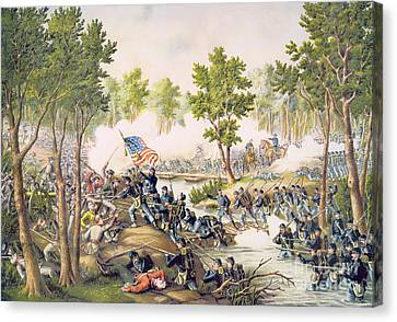 Battle Of Spottsylvania May 1864 Canvas Print by American School