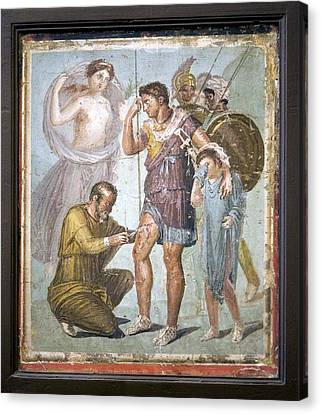 Battle Wounds Of Aeneas, Roman Fresco Canvas Print by Sheila Terry