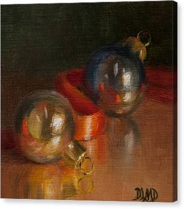 Baubles And Ribbon Canvas Print by Debbie Lamey-MacDonald