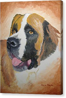 Canvas Print featuring the painting Baxter by Norm Starks