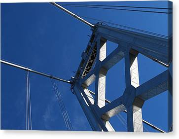 Bay Bridge And Blue Sky, San Francisco Canvas Print by Jamie Jennings www.JJphotos.ca