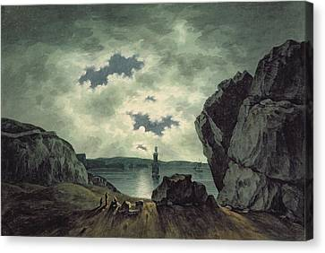 Bay Scene In Moonlight Canvas Print by John Warwick Smith