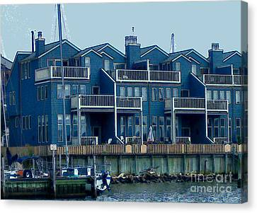 Canvas Print featuring the painting Bayside Condos by Elinor Mavor