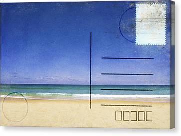 Beach And Blue Sky On Postcard  Canvas Print by Setsiri Silapasuwanchai