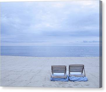 Beach And Chairs In St Tropez, French Riveira Canvas Print by Ballyscanlon