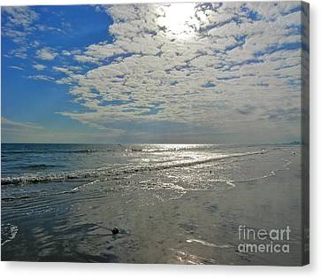 Canvas Print featuring the photograph Beach At Dawn by Eve Spring