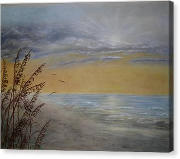 Canvas Print featuring the painting Beach At Dawn by Kathleen McDermott