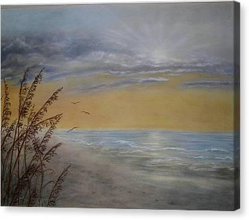 Beach At Dawn Canvas Print by Kathleen McDermott