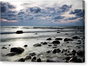 Beach At Dusk Canvas Print by Carol Hathaway