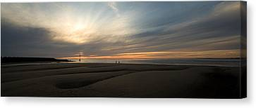 Beach Casters On The Wirral Canvas Print by Wayne Molyneux