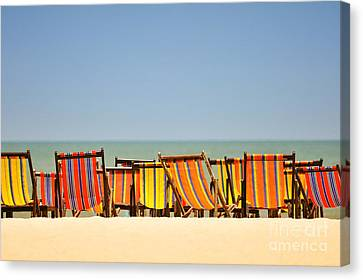 Beach Chairs Colorful  Canvas Print by Panupong Roopyai