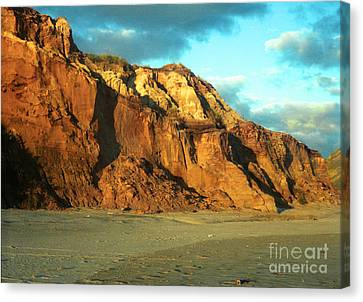 Canvas Print featuring the photograph Beach Cliff At Sunset by Mark Dodd