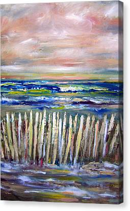 Patricia Taylor Canvas Print - Beach Fence At Twilight by Patricia Taylor