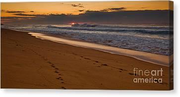 Beach Footsteps At Dawn Canvas Print