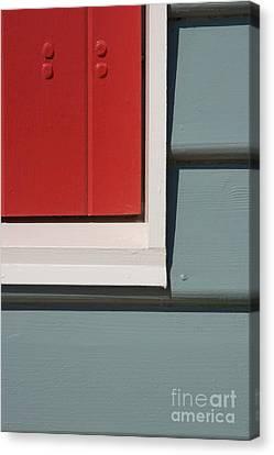 Beach House - Red Gray White Canvas Print by Hideaki Sakurai