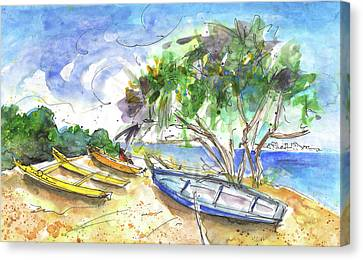 Beach In Ayia Napa Canvas Print by Miki De Goodaboom