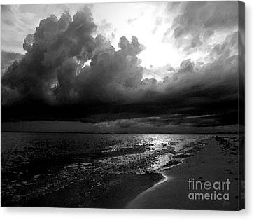 Beach In Black And White Canvas Print by Jeff Breiman