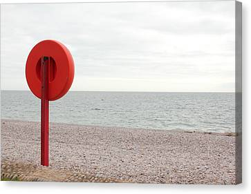 Beach In Budleigh Salterton Canvas Print by Thenakedsnail