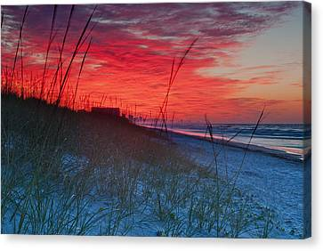 Beach On Fire Canvas Print by At Lands End Photography