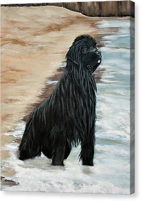 Canvas Print featuring the painting Beach Patrol by Sharon Nummer