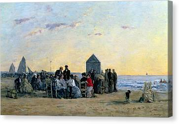 Beach Scene At Trouville - Sunset Canvas Print