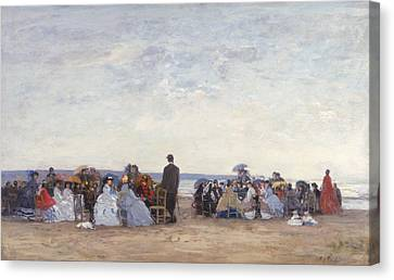 Beach Scene Near Trouville Canvas Print