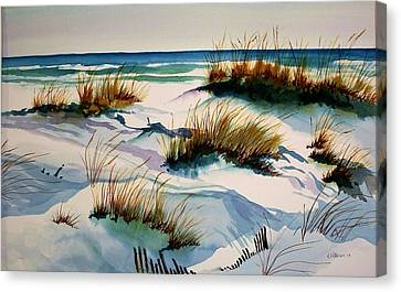 Canvas Print featuring the painting Beach Shadows by Richard Willows