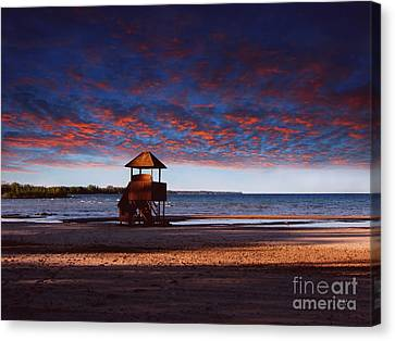 Beach Sunset Canvas Print by Ms Judi