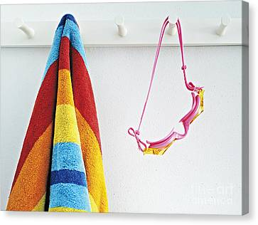 Beach Towel And Goggles Canvas Print