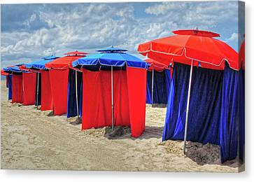 Canvas Print featuring the photograph Beach Umbrellas Nice France by Dave Mills