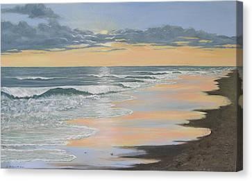Beach Walk Reflections Canvas Print by Kathleen McDermott