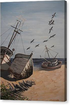 Beached Boats Canvas Print