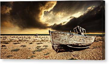 Threatening Canvas Print - Beached In Color by Meirion Matthias
