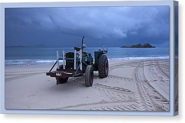 Canvas Print featuring the digital art Beached Tractor by Kevin Chippindall