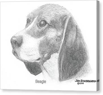 Canvas Print featuring the drawing Beagle by Jim Hubbard
