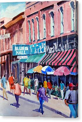 Canvas Print featuring the painting Beale Street Blues Hall by Ron Stephens