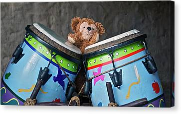 Canvas Print featuring the photograph Bear And His Drums At Walt Disney World by Thomas Woolworth