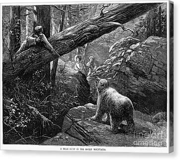 Bear Hunt, 1876 Canvas Print by Granger