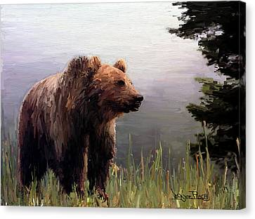 Canvas Print featuring the painting Bear In The Woods by Wayne Pascall