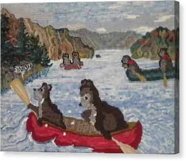 Bears In Canoes Canvas Print by Brenda Ticehurst