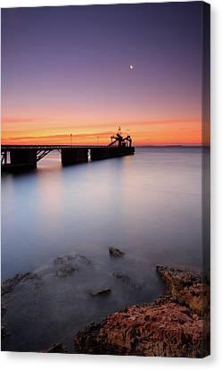 Beautiful Beach And Bridge Canvas Print by Oscar Gonzalez