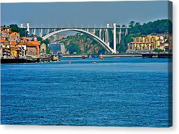 Canvas Print featuring the photograph Beautiful Bridge In Porto by Kirsten Giving