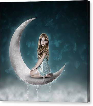 Canvas Print featuring the photograph Beautiful Child Sitting On Crescent Moon by Ethiriel  Photography