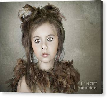 Canvas Print featuring the photograph Beautiful Child With Bird by Ethiriel  Photography