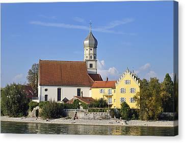 Beautiful Church In Wasserburg Lake Constance Canvas Print by Matthias Hauser