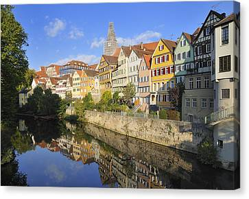 Beautiful German Town Tuebingen - Neckar Waterfront Canvas Print